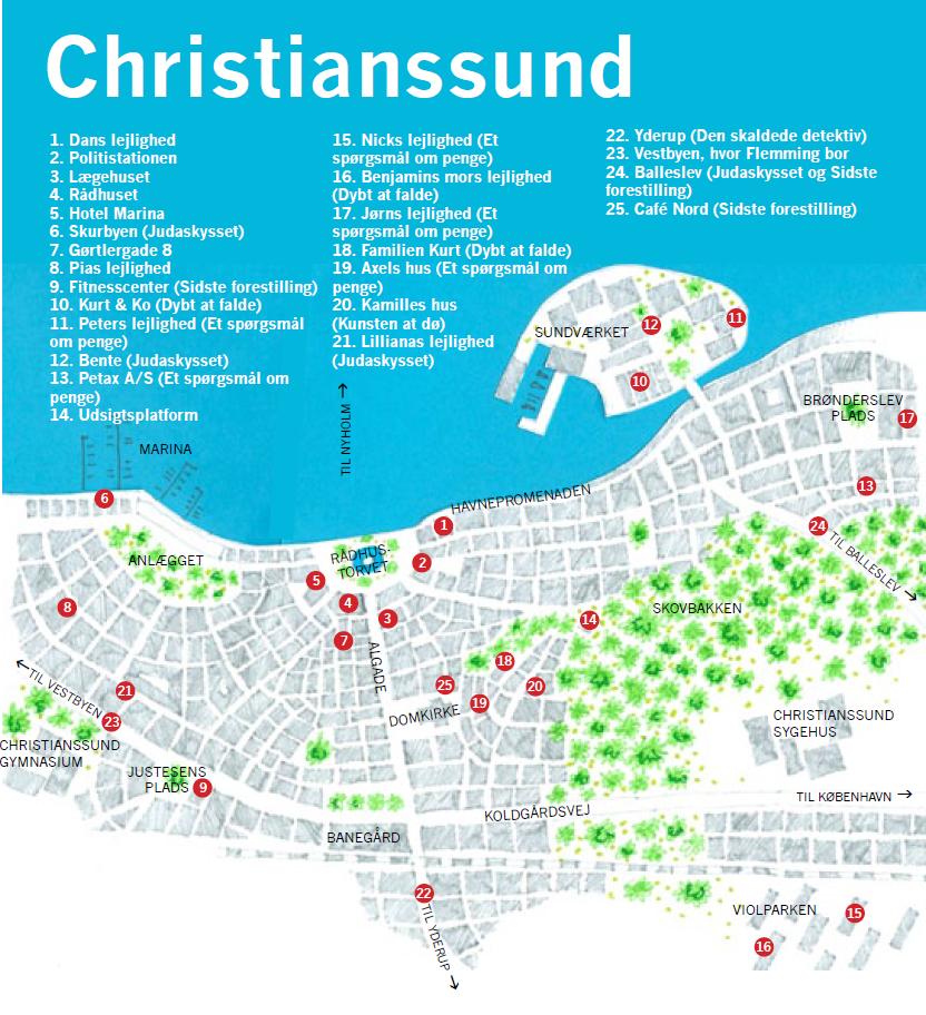 Kort over Christianssund - byen med Den Skaldede Detektiv i krimiserien af Anna Grue